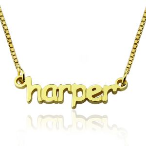 Personalized Mini Name Necklace 18K Gold Plated