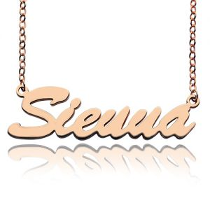 Custom Rose Gold Plated Silver Sienna Name Necklace