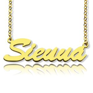 Glamorous Solid Gold Sienna Style Name Necklace