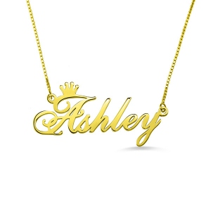 Charming Personalized Name Crown Necklace Gold Plated