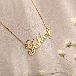 Personalized Name Crown Necklace Gold Plated