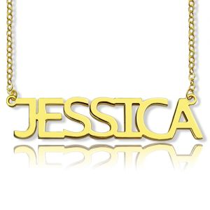 Block Letter Name Necklace In Gold -