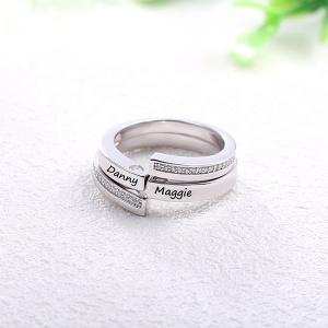 Gravierter kombinierbarer Infinity Ring für Paare