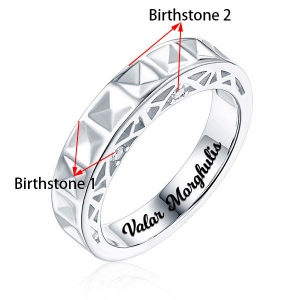 Personalized Arch Pattern With Birthstone Love Ring