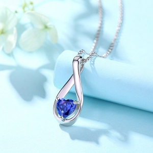 Custom Mobius Heart Birthstone Necklace Sterling Silver