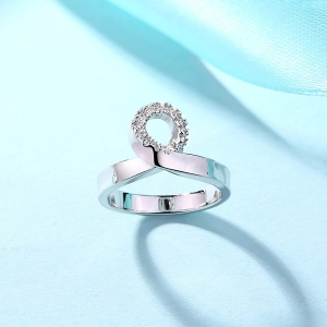 Engraved Mobius Birthstone Ring