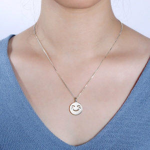Emoji Face Disc Necklace in Sterling Silver