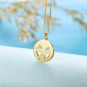 Emoji Face Disc Necklace in Gold