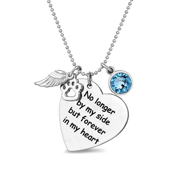Custom Pet Memorial Heart Birthstone Necklace With Wing And Paw Print
