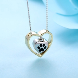 Personalized Double Heart Urn Necklace for Ashes Sterling Silver