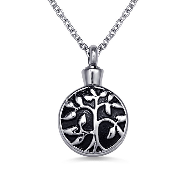 Personalized Tree Of Life Cremation Urn Necklace Stainless Steel