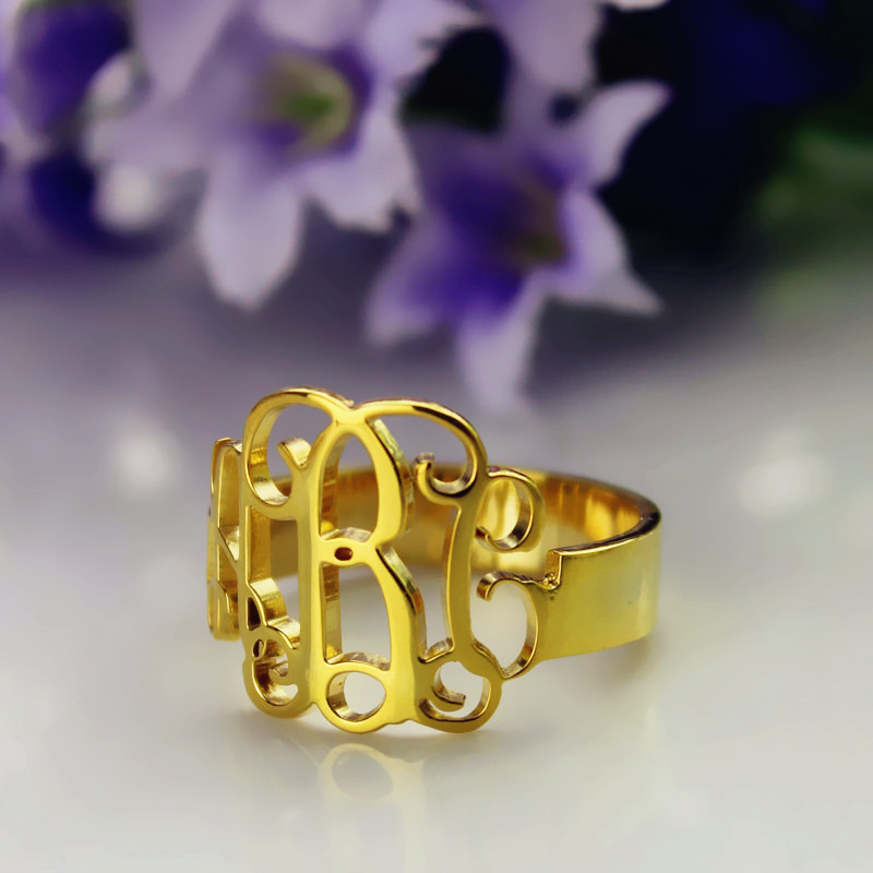 Personalized Gold Monogram Initials Ring 18k Plated