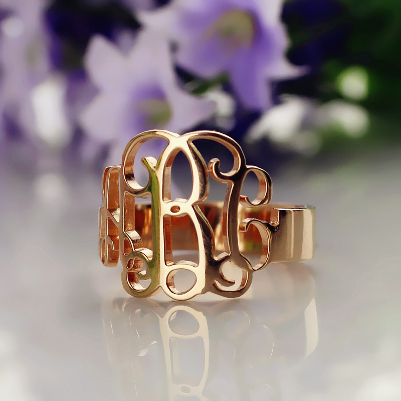 Personalized Rose Gold Monogram Ring