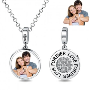 Round Love Forever Couple Photo Pendant Necklace Silver