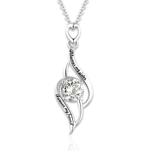 Sterling silver engraved pendant necklace with birthstone aloadofball Gallery