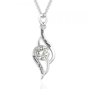 Sterling Silver Engraved Pendant Necklace with Birthstone