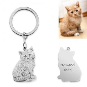 Custom Cat Photo Engraved Keychain