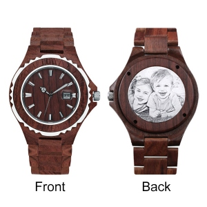 Photo Engraved Wooden Date Display Quratz Watch