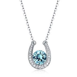 Custom Lucky Necklace with Horseshoe Birthstone Pendant