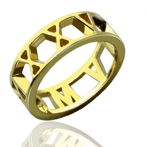 Roman Numeral Date Jewelry Ring 18K Gold Plated
