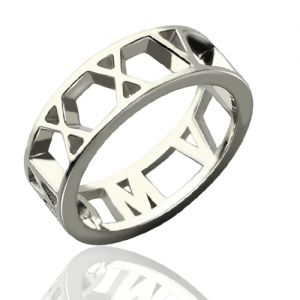Superb Personalized Roman Numerals Open Ring Sterling Silver