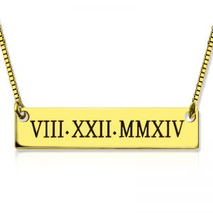 Personalized Roman Numeral Bar Necklace 18K Gold Plated