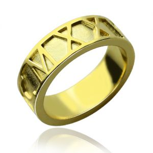 18K Gold Plated Roman Numeral Date Ring