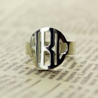 Silver Block Mongoram Ring