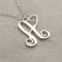 Silver Initial Heart Necklace