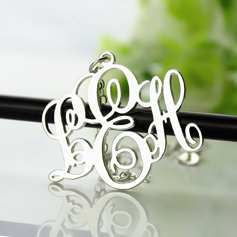 Personalized vine font initial monogram necklace sterling silver aloadofball Gallery