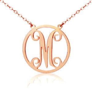 Rose Gold 1 Initial Vintage Style Circle Monogram Necklace