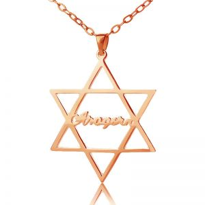 Hexagram Name Necklace Rose Gold Plated Silver 925