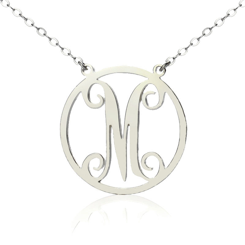 Sterling silver small single circle monogram letter necklace aloadofball