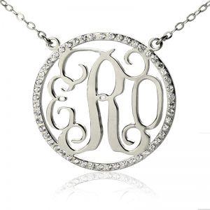 Birthstone Circle Monogram Necklace Sterling Silver