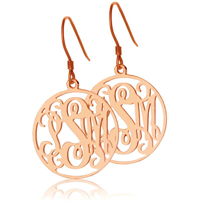 Circle Monogram Initial Earrings Rose Gold