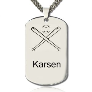 Titanium Steel Baseball Dog Tag Name Necklace