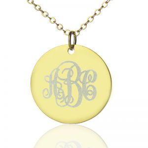 Solid Gold Vine Font Disc Engraved Monogram Necklace