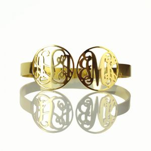 Gold 2 Monogrammed Initial In 2 Circles Bracelet