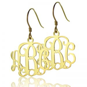 Nice Solid Gold Personalized Monogram Earrings
