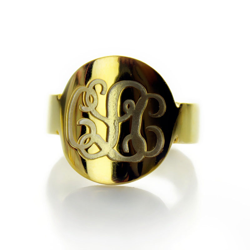 Solid Gold Engraved Monogram Initial Ring