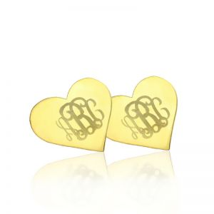 Custom Heart Studs Monogram Earrings Solid Gold