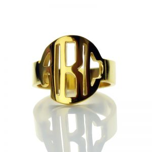 Ornate Personalized Circle Block Monogram 3 Initials Ring Solid Gold