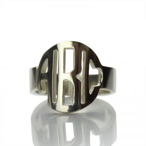 Superb Circle Block Monogram 3 Initials Ring Solid White Gold Ring