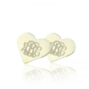 Good Heart Monogram Earrings Studs Custom Solid White Gold