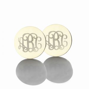 Circle Monogram 3 Initial Earrings Solid White Gold