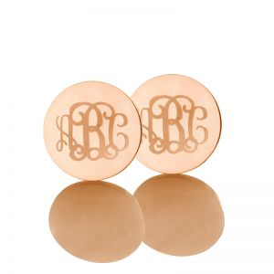 Circle Monogram 3 Initial Name Earrings Solid Rose Gold