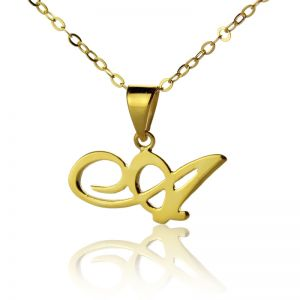 Solid Gold Christina Applegate Initial Necklace - 10K/14k/18k