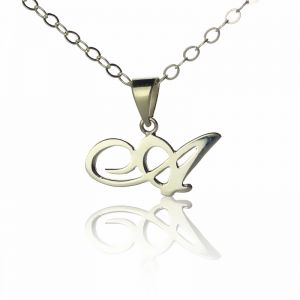 Personalized Madonna Style Initial Necklace Solid White Gold