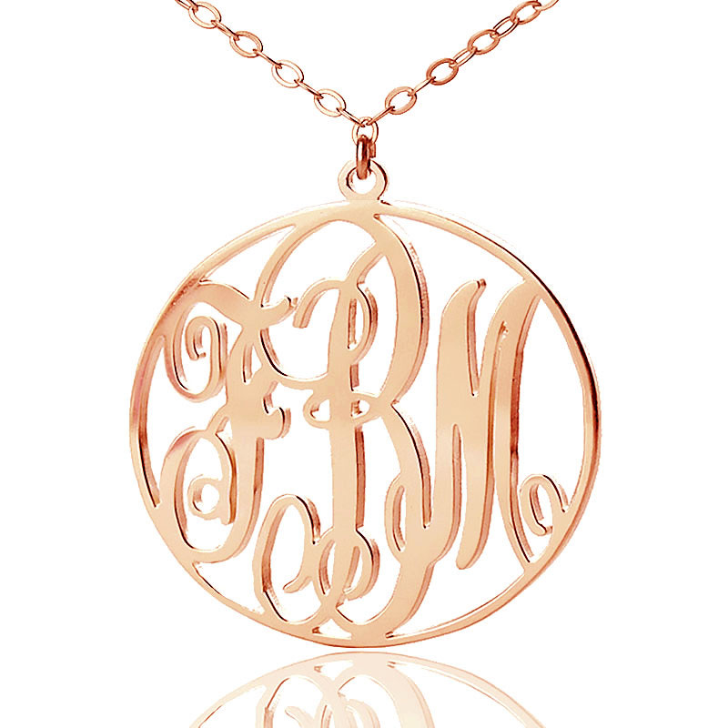 Solid Rose Gold Vine Font Circle Initial Monogram Necklace