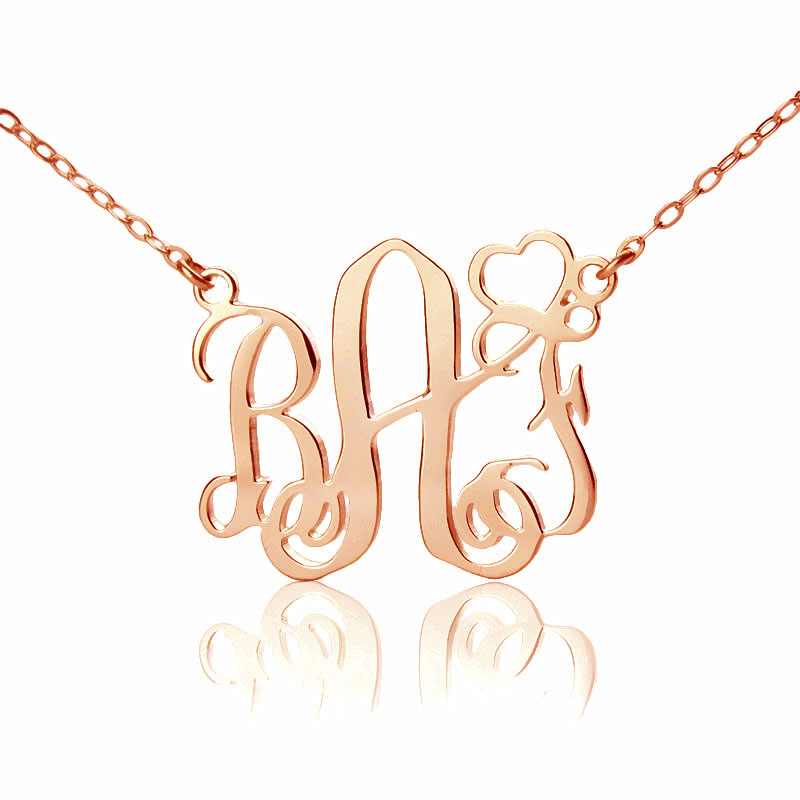 Personalized initial monogram necklace solid rose gold for Rose gold personalized jewelry